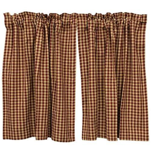 Burgundy Check Tier Curtain Set of 2 36