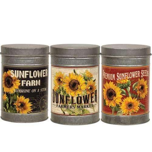 Set of 3 Metal Sunflower Canister