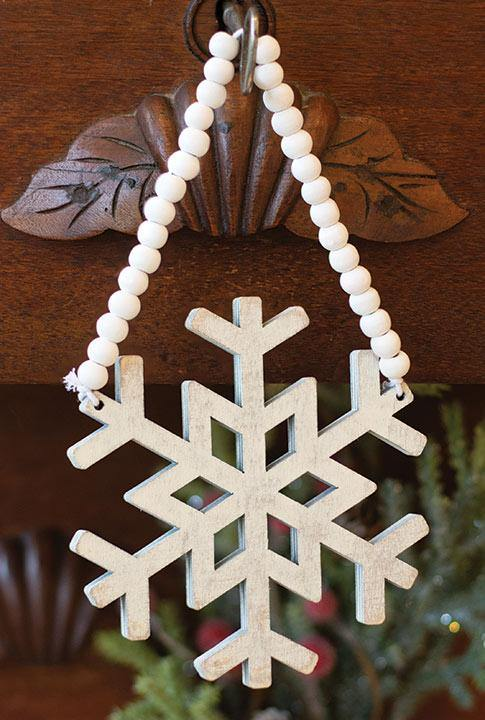 Distressed Wooden Snowflake Beaded Ornament