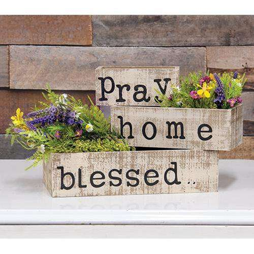 3/Set Blessed, Home, Pray Boxes - The Fox Decor