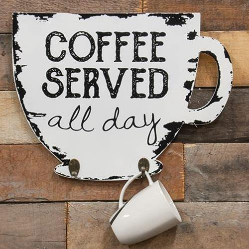Coffee Served Cup Holder Sign