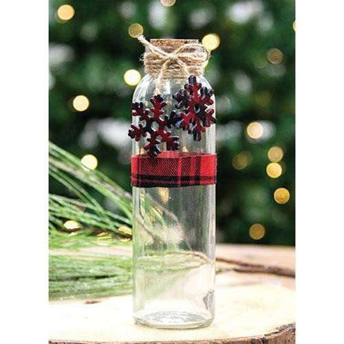 Glass Bottle with Snowflake Charms