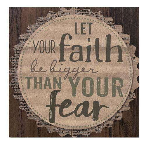 "*Let Your Faith Plaque 9.5"" Sq"