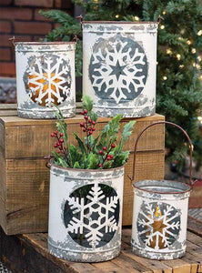 4/Set White Vintage Snowflake Buckets