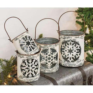 4/Set White Vintage Snowflake Buckets shop now