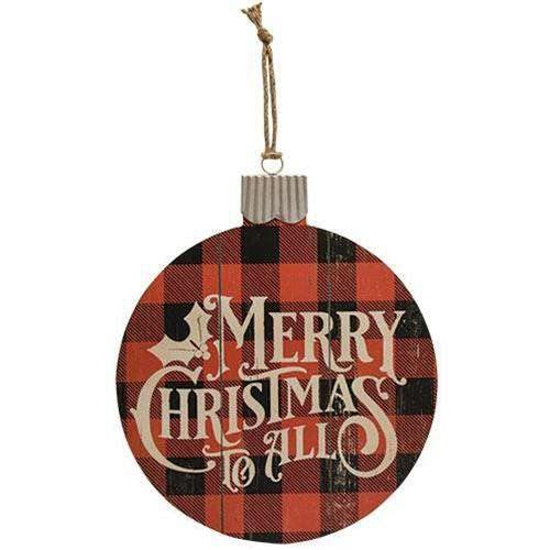 Merry Christmas Buffalo Check Bulb Sign