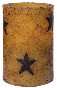"4"" Burnt Ivory Star Timer Pillar Candle"