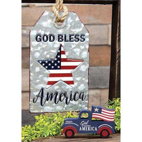 God Bless America Metal Tag w/ Jute