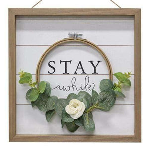 Stay Awhile Floral Framed Sign