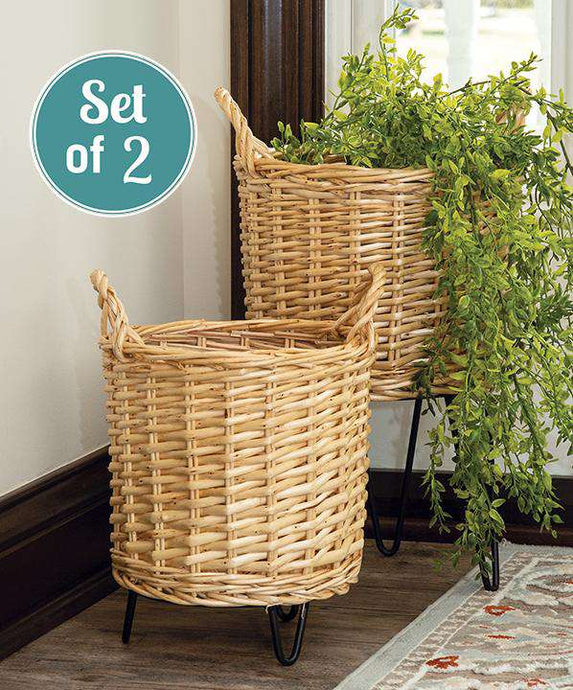 2/Set, Wicker Basket Plant Stands - The Fox Decor