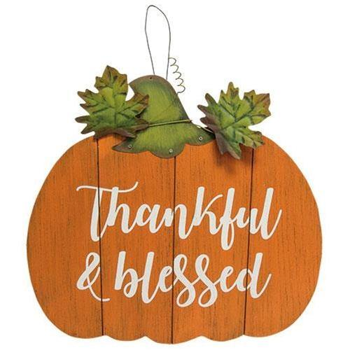 Thankful and Blessed Pumpkin Sign