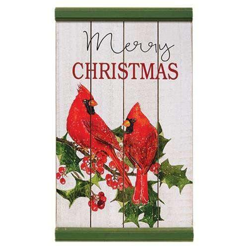 Christmas Cardinals Wood Sign