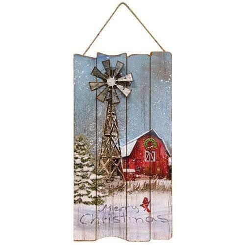Metal Windmill Christmas Barn Sign