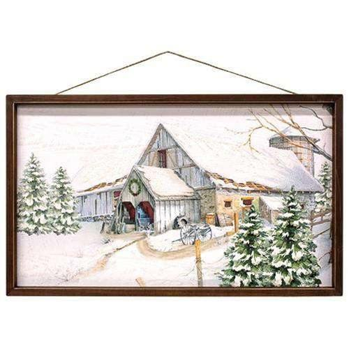 Snowy White Barn Framed Sign