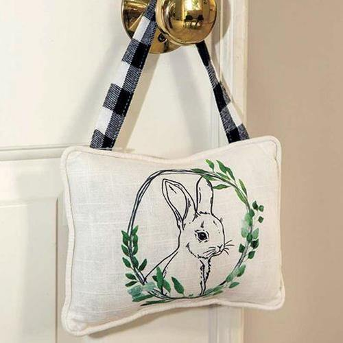 Bunny Floral Portrait Pillow Ornament