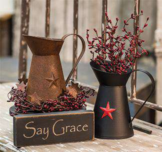 Rusty Pitcher w/Embossed Star - The Fox Decor