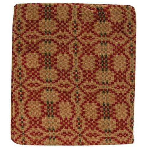 Patriot's Knot Throw Cranberry, green and tan - The Fox Decor