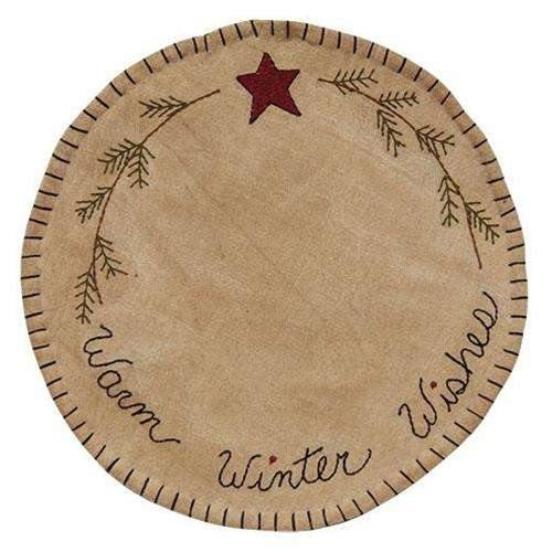 Warm Winter Wishes Round Mat, 10""