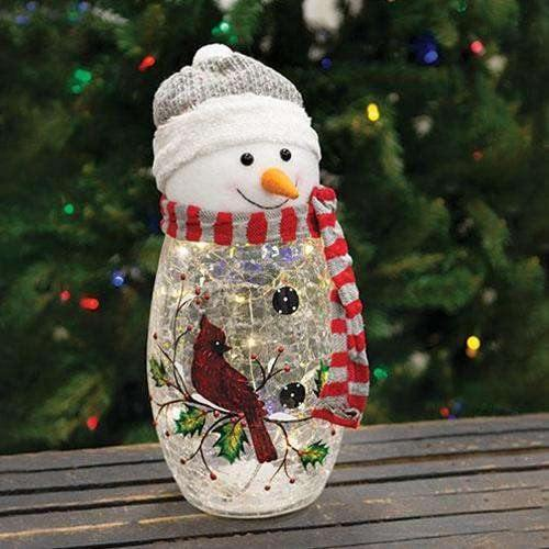 Plush Head Lit Glass Snowman