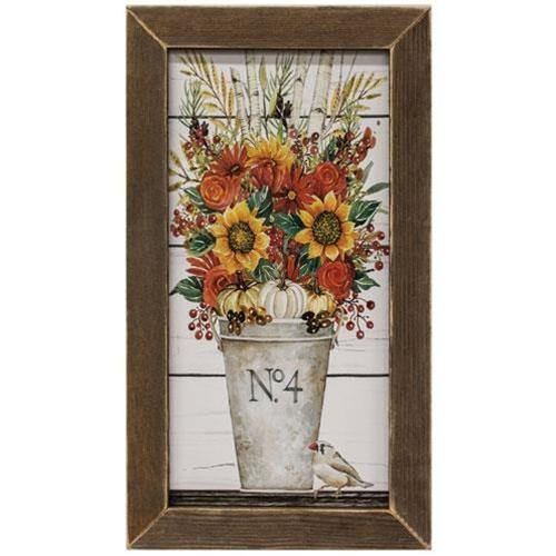 Fall Arrangement Print, Brown Stain Frame