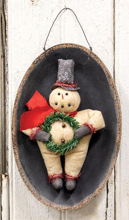 Top Hat Snowman with Wreath on Plate