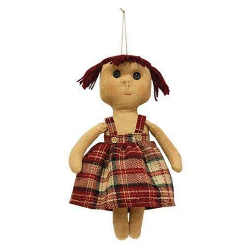 Little Millie Doll country doll with burgundy yarn hair