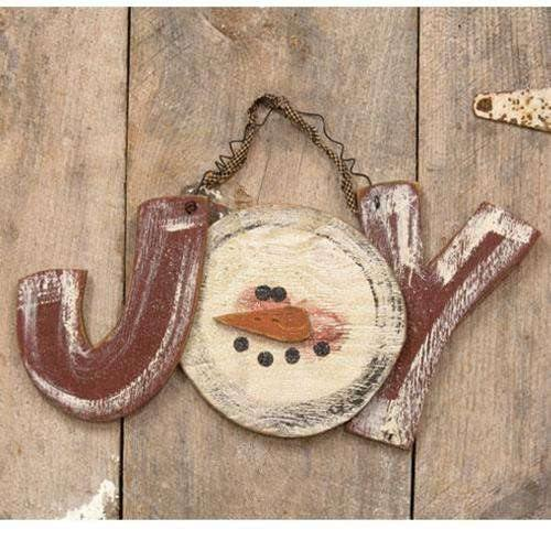 Distressed Hanging Snowman Joy Sign
