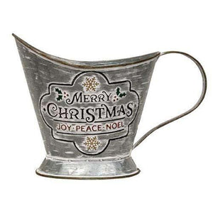 "Merry Christmas Metal Coal Bucket, 6"" x 10"""