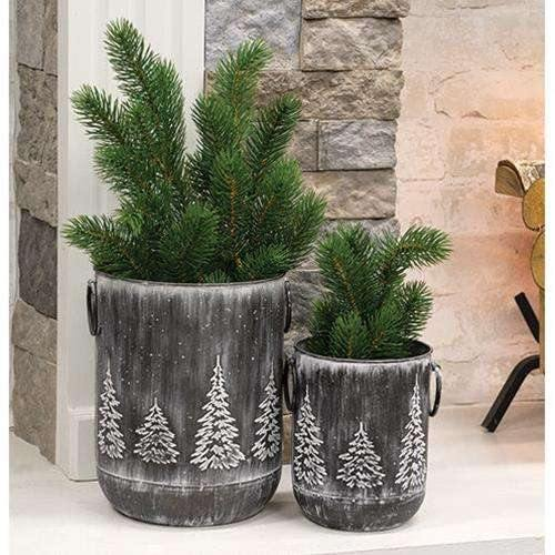 "White Washed Black Metal Tree Container, 9.5"" x 7.25"" - The Fox Decor"