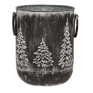 "White Washed Black Metal Tree Container, 6.5"" x 5.25"""