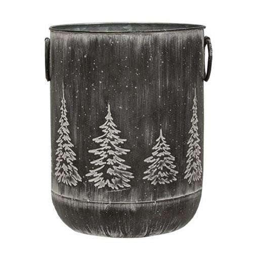 "White Washed Black Metal Tree Container, 9.5"" x 7.25"""