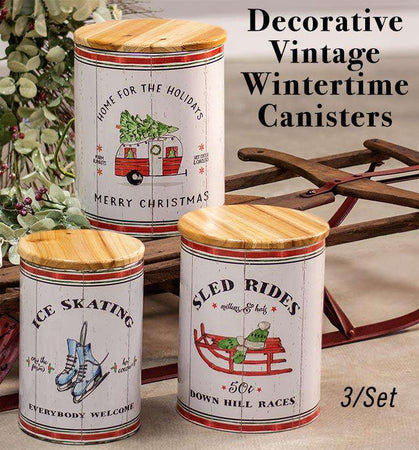 *3/Set Wintertime Canisters Decorative Vintage