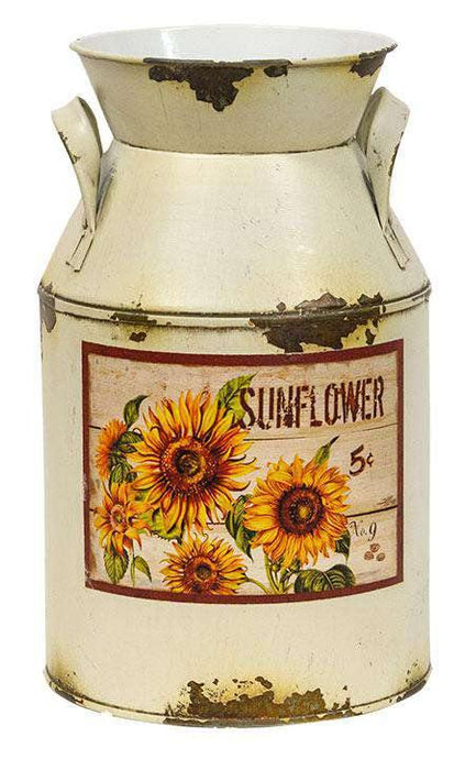Cream Distressed Sunflower Milk Can