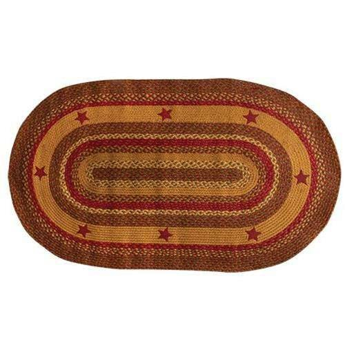 Cinnamon Star Oval Braided Rug, 3x5