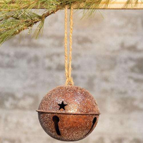"Vintage Glitter Rusty Bell Ornament, 4.5"" - The Fox Decor"