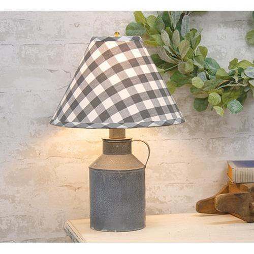 Jug Lamp With Gray Check Shade - The Fox Decor