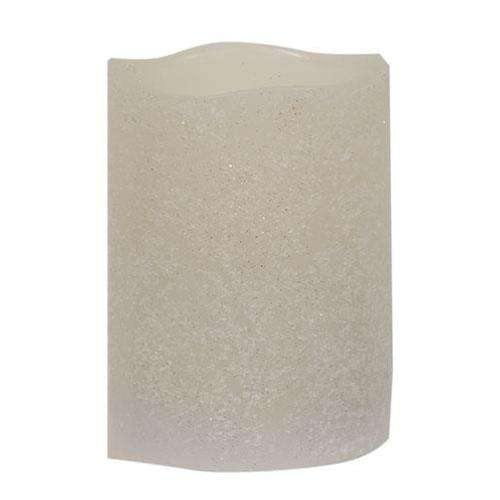 "White Frosty Timer Pillar Candle, 3"" x 4"""