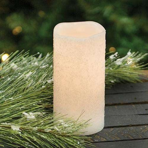 White Frosty Timer Pillar Candle, 3