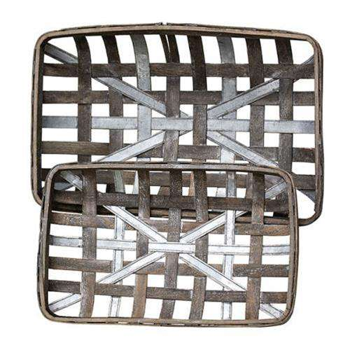2/Set, Gray Wash Rectangle Tobacco Baskets w/Metal Strips - The Fox Decor