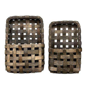 2/Set, Aged Tobacco Wall Pocket Baskets - The Fox Decor