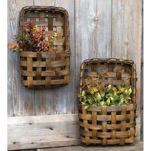 2/Set, Brown Tobacco Wall Pocket Baskets - The Fox Decor