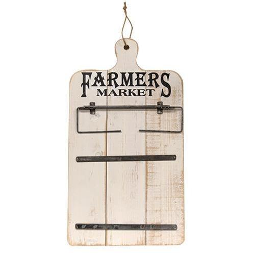 Farmers Market Wooden Wall Piece with Metal Metal Arms