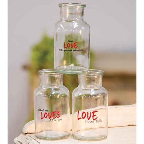Love Never Fails Glass Bottle, 3/set