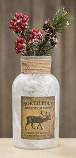 North Pole Frosted Bottle, 8x4 - The Fox Decor