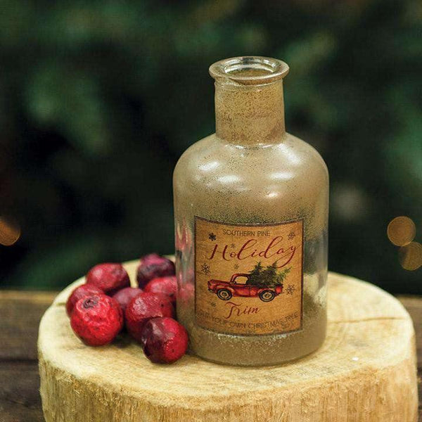 Holiday Trim Antiqued Bottle, Christmas Decor