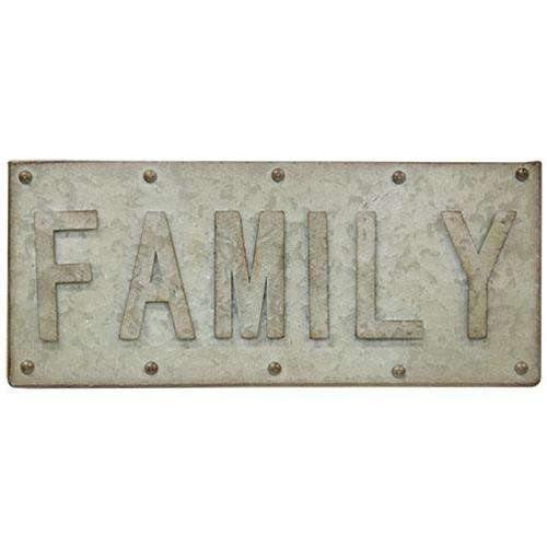 Galvanized Family Sign