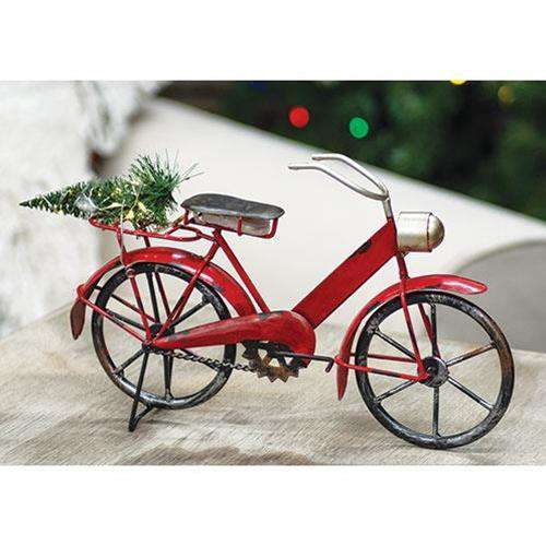 Red Bicycle With Lit Tree, Small - The Fox Decor