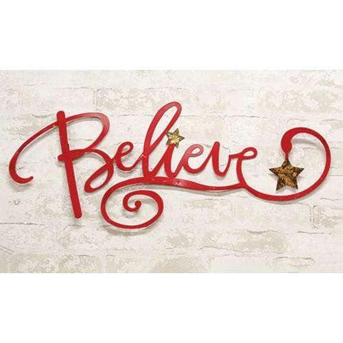 "Believe Wall Sign, 29"" Christmas Decor"