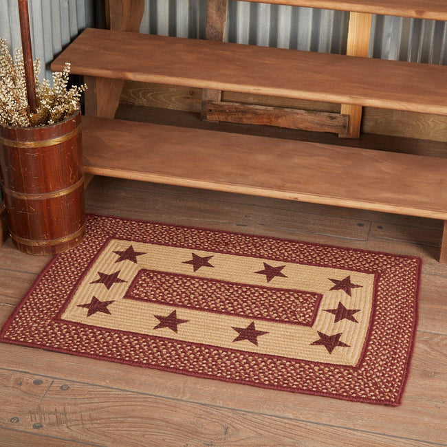 "Burgundy Red Primitive Jute Braided Rug Rect Stencil Stars 20""x30"" with Rug Pad VHC Brands - The Fox Decor"