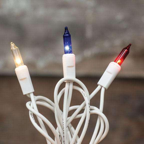Patriotic Lights, White Cord, 50 ct.